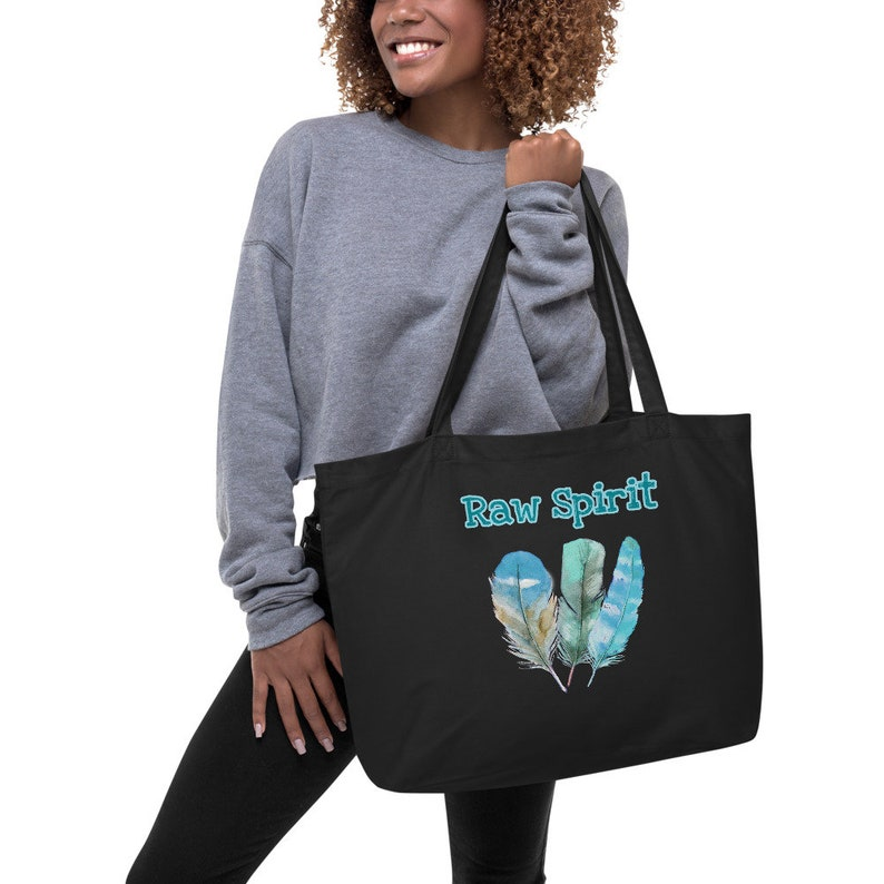 Large Raw Spirit feather Organic tote bag
