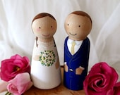 Wedding Cake Toppers // Wooden Dolls // Cake toppers // Peg Dolls Custom Wedding Cake toppers