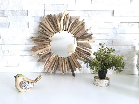 Small Round Driftwood Mirror Authentic, Driftwood Mirror Round