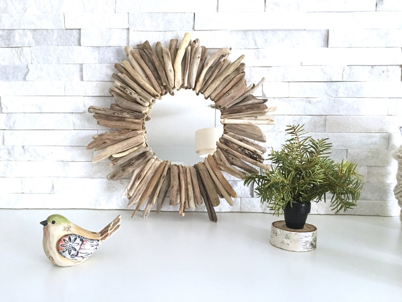 Small Round Driftwood Mirror. Authentic Lake Huron drift wood image 0