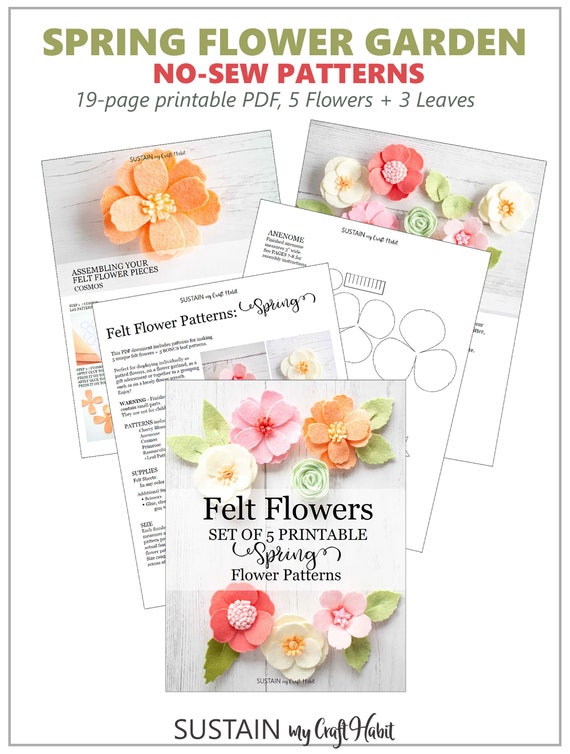 graphic relating to Felt Flower Template Printable known as Felt Flower Designs Template; 5 no-sew felt or paper bouquets; Habit PDF, SVG lower history; Bash favors, wreaths, Cricut, Silhouette