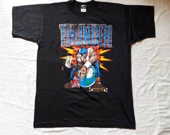 Vintage 1991 Thunder Tour T Shirt . Vtg 90s 1990s Heavy Metal Concert Tee Iron Maiden Saxon Deep Purple Motorhead