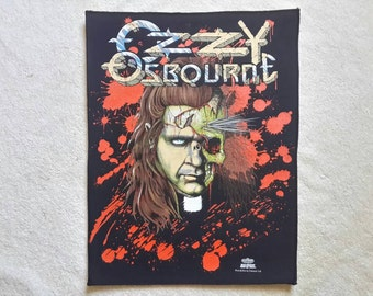 Vintage 1991 Ozzy Osbourne Back Patch Backpatch Vtg 90s 1990s Heavy Metal Black Sabbath Venom