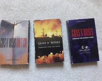 Lot Of Vintage Guns N Roses Cassettes Vtg 90s 1990s Heavy Metal Tape K7 Motley Crue Poison Skid Row Aerosmith Whitesnake Scorpions Bon Jovi