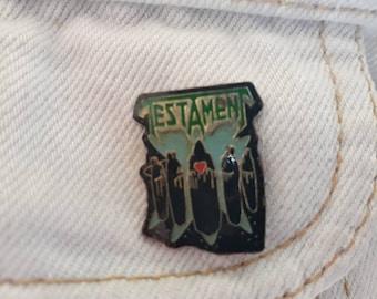 Vintage 1990 Testament Pin Vtg 1980s Thrash Metal Badge Megadeth  Anthrax Slayer Metallica Suicidal Sepultura