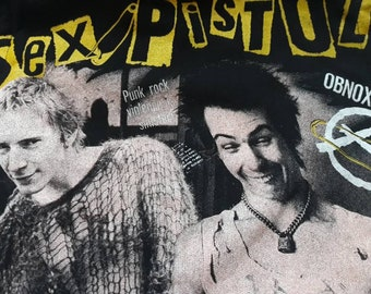 Vintage 1994 Sex Pistols Cropped Muscle Hoodie . Vtg 90s 1990s Punk Rock Crewneck Exploited GBH Rancid Discharge DOA