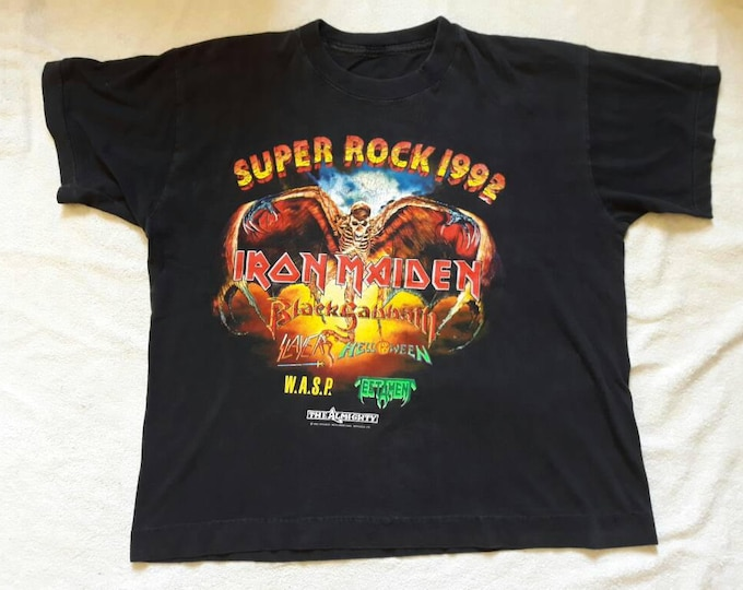 Featured listing image: Vintage 1992 Super Rock T Shirt. Iron Maiden