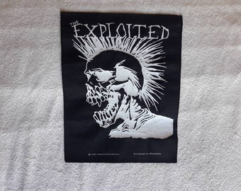 Vintage 1990 The Exploited Back Patch Vtg 90s 1990s Hardcore Punk Sex Pistols Rancid GBH Dr and the Crippins Backpatch UK Subs Ramones Fear