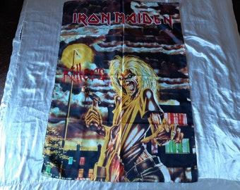 Vintage 1981 Iron Maiden Poster Flag Vtg 80s 1980s Heavy Metal  Motorhead Saxon Def Leppard Judas Priest