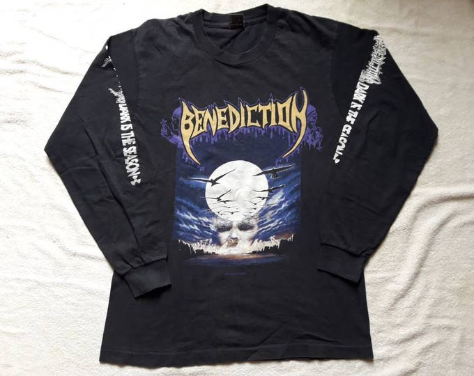 Featured listing image: Vintage Rare 1993 Benediction Long Sleeve T Shirt Vtg 90s 1990s British Death Metal LS Tee Earache Napalm Death