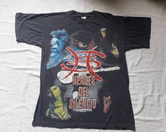 Vintage 1996 Heroes Del Silencio T Shirt Vtg 90s 1990s Heavy Hard Rock Metal Tee Los Suaves Mago De Oz Mana Marea Dover Baron Rojo