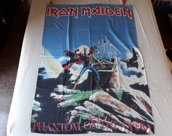 Vintage 1980 Iron Maiden Poster Flag Vtg 80s 1980s Heavy Metal Motorhead Saxon Def Leppard Judas Priest Deep Purple Diamond Head Zeppelin