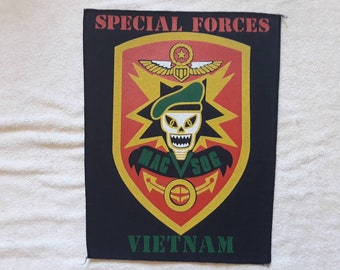 Rare 1980s Special Forces Vietnam Back Patch. Vtg 1980s US Military Army Backpatch Militaria