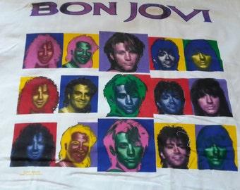 1993 Bon Jovi Tour T Shirt. Vtg 90s 1990s Heavy Metal Concert  Tee Glam Rock Keep The Faith Motley Crue Poison Twisted Sister Guns n Roses