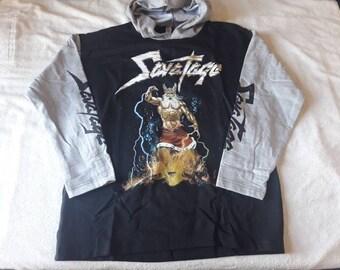 Vintage 90s Savatage Hoodie Vtg 1990s Heavy Metal Def Leppard Asia Motorhead Judas Priest Saxon Led Zeppelin Samson Diamond Head Testament