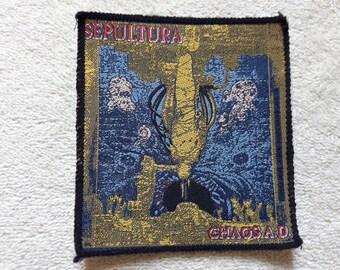 Vintage 1993 Sepultura Patch. NOS . Vtg 90s 1990s Thrash Metal Megadeth Slayer