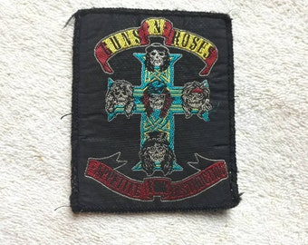 Vintage 1988 Guns N Roses Patch . Vtg 80s 1980s Heavy Metal ACDC Metallica Faith No More