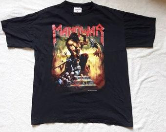 Vintage 1997 Manowar Tour Tshirt Vtg 90s 1990s Heavy Metal Concert Tee T Shirt Helloween Judas Priest Saxon Sabaton Iced Earth Dio