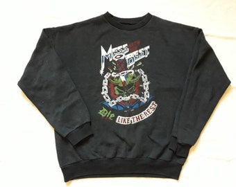 Vintage 1980s Heavy Metal Sweater . Vtg 80s  Hard Rock Crewneck Sweatshirt Pullover Whitesnake Def Leppard Poison Styx Motorhead