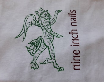 Vintage 1995 Nine Inch Nails T Shirt . Vtg 90s 1990s Tee Industrial Metal Ministry Type O Negative White Zombie
