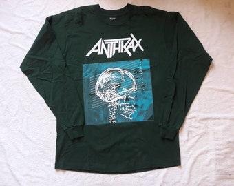 Vintage 1993 Anthrax Tour Long Sleeve Tshirt Vtg 90s 1990s Heavy Thrash Speed Metal Concert LS T Shirt Megadeth Slayer Sepultura Biohazard