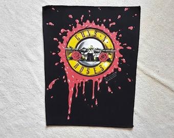 Vintage 1991 Guns N Roses Back Patch . Vtg 90s 1990s GNR BP Heavy Metal Backpatch Motley Crue Poison Cinderella