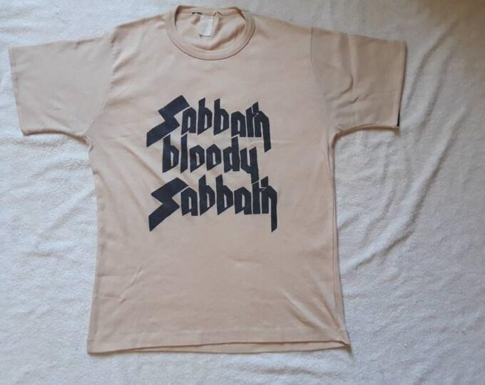 Featured listing image: Vintage Rare 1975 Black Sabbath Tee  Vtg 70s 1970s Heavy Metal  T Shirt  Iron Maiden Hawkwind Motorhead Def Leppard DIO Van Halen  ACDC