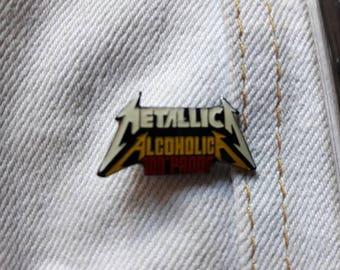 Vintage 1989 Metallica Pin . Vtg 1980s 80s Thrash Metal Pin Megadeth Anthrax