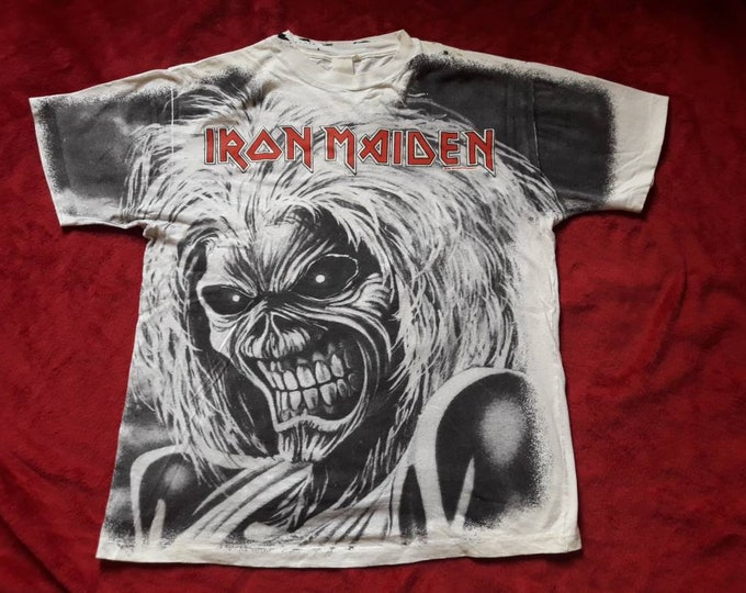 Featured listing image: Vintage Rare 1991 Iron Maiden Tee . Vtg 90s 1990s Allover Print OVP Heavy Metal Tshirt T Shirt Judas Priest