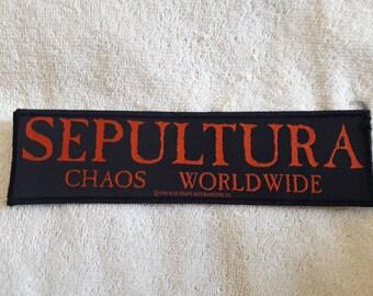 Vintage 1994 Sepultura Patch . Vtg 90s 1990s Thrash Metal Slayer Metallica Megadeth Soulfly Nailbomb