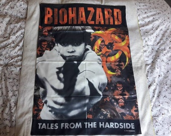 Vintage 1994 Biohazard Poster Flag Vtg 90s 1990s Hardcore Thrash Metal NOFX Rancid Sepultura Agnostic Front Mucky Pup Cro Mags