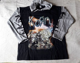 Vintage 1998 Korn Hoodie Sweater Vtg 90s 1990s Heavy Rap Nu Metal Tee Limp Bizkit Slipknot Deftones Rammstein Linkin Park Marilyn Manson