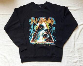 Vintage 1988 Def Leppard Tour Sweater Vtg 80s 1980s Heavy Metal Hard Rock Concert Crewneck Iron Maiden Saxon Motorhead