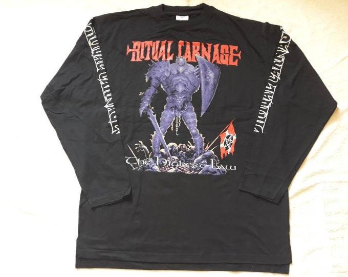 Featured listing image: Vintage 1998 Ritual Carnage Long Sleeve Tshirt. Vtg 1990s 90s Thrash Death Metal Tee T LS Shirt. Animosity Slayer Sadus Vio Lence