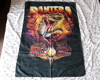 Vintage 1999 Pantera Poster Flag Vtg 90s 1990s Rap Thrash Metal Dimebag Sepultura Agnostic Front Mucky Pup Cro Mags Dog Eat Biohazard RATM