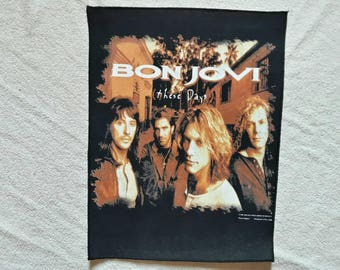 Vintage 1996 Bon Jovi Back Patch. Vtg 90s 1990s Heavy Metal Hard Rock BP Backpatch
