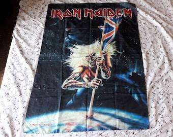 Vintage 1982 Iron Maiden Poster Flag Vtg 80s 1980s Heavy Metal  Motorhead Saxon Def Leppard Judas Priest ACDC Diamond Head Hawkwind