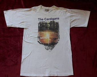 Vintage Rare 1998 The Cardigans Tour T Shirt . Vtg 90s 1990s Rock Band Concert Tee Suede Sleeper Garbage Elastica Roxette