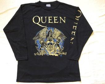 Vintage 1992 Queen Long Sleeve T Shirt  . Vtg 90s 1990s British Rock Tee Freddie Mercury Rolling Stones Elton John