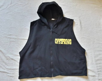Vintage 1994 Offspring Cropped Muscle Hoodie . Vtg 90s 1990s Punk Rock Crewneck Rancid Hooded Top Green Day Pennywise