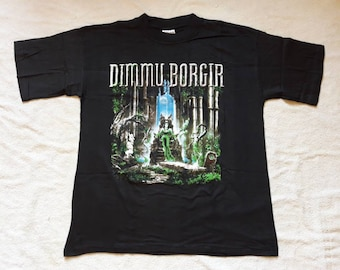 Vintage 1998 Dimmu Borgir T Shirt . Vtg 90s 1990s Norwegian Black Metal Tee Immortal Cradle Of Filth