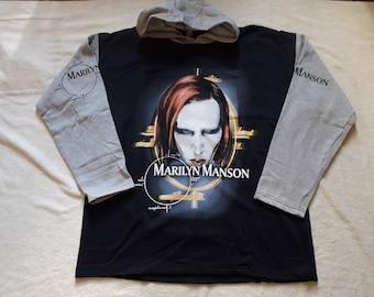 Vintage 1998 Marilyn Manson Hoodie . Vtg 90s 1990s Heavy Gothic Goth Metal Nine Inch Nails Ministry Rammstein