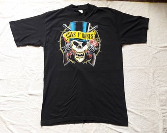 Vintage 1991 Guns N Roses Tour T Shirt . Vtg 90s 1990s Heavy Metal Cocert Tee Metallica Slash Motley Crue Poison