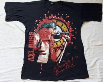 Rare Vintage 1992 Guns N Roses T Shirt . Vtg 90s 1990s Heavy Metal Concert Tee Axl Slash Helter Skelter Iron Maiden ACDC