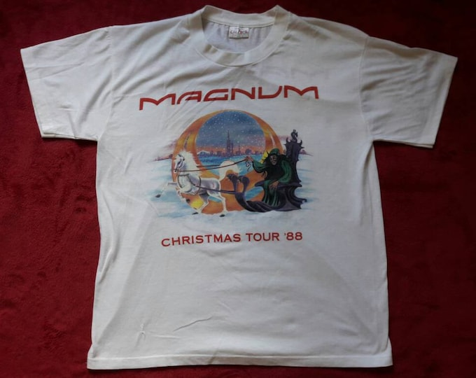 Featured listing image: Vintage Rare 1980s Magnum Tour T Shirt. 1988 Concert Metal