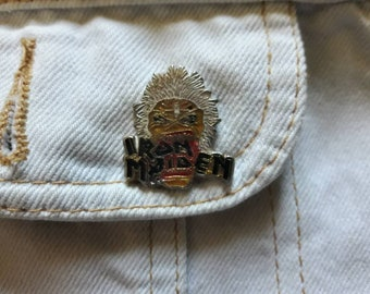 Vintage 80s Iron Maiden Pin Vtg 1980s Heavy Metal Badge Motorhead ACDC Judas Priest Guns N Roses Black Sabbath Saxon
