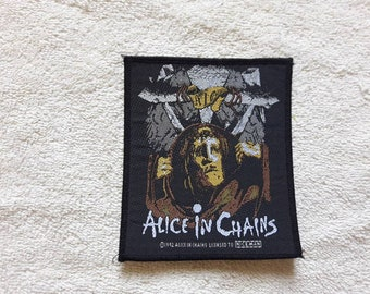 Vintage 1992 Alice In Chains Patch . Vtg 90s 1990s Heavy Hard Rock Grunge Chili Peppers Mudhoney Tad Nirvana