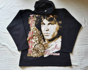 Vintage 1994 The Doors Hoodie . Vtg 90s 1990s Psychadelic Rock Hooded Top Jimi Hendricks Andy Warhol Aerosmith