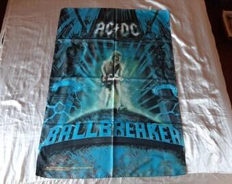 Vintage 1995 ACDC Poster Flag Vtg 90s 1990s Heavy Metal Helloween Guns N Roses Overkill Motley Crue Bon Jovi Manowar