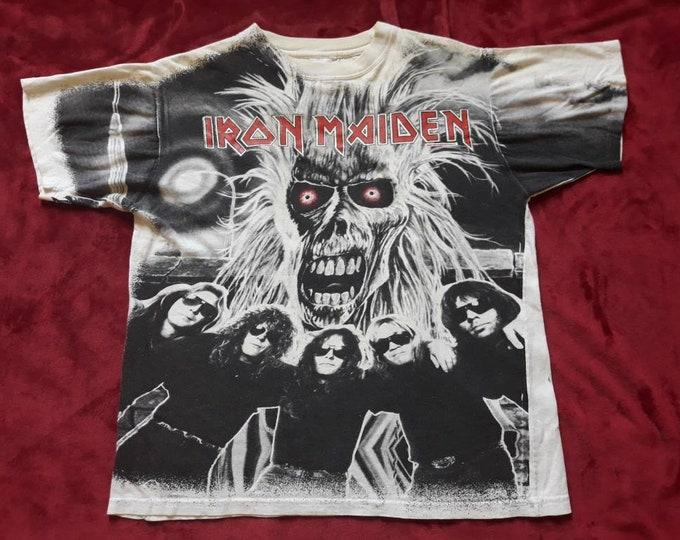 Featured listing image: Vintage Rare 1991 Iron Maiden Tee . Vtg 90s 1990s Allover Print Heavy Metal Tshirt T Shirt Judas Priest